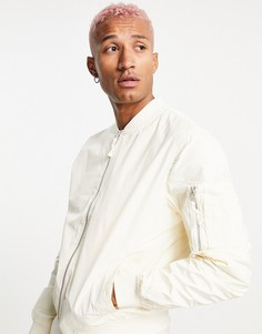 Белая куртка-бомбер Bershka-Белый