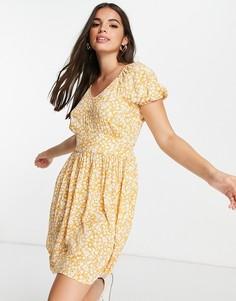 Желтое летнее платье с цветочным принтом, короткими рукавами и расклешенной юбкой Pieces Milla-Разноцветный