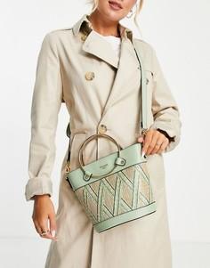 Зеленая сумка-мешок из рафии с ручкой Dune-Зеленый цвет