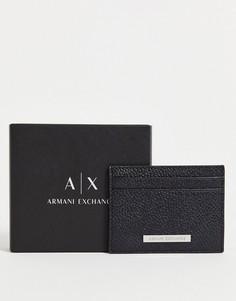 Черная визитница с логотипом Armani Exchange-Черный цвет