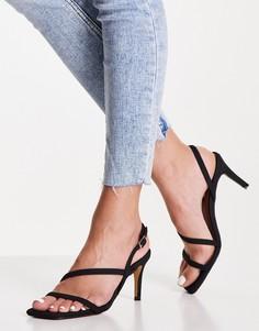 Черные туфли на каблуке с ремешками из искусственной замши NA-KD-Черный цвет