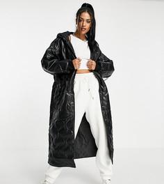 Черное стеганое пальто-пуховик из искусственной кожи с капюшоном ASOS DESIGN Tall-Черный цвет