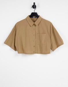 Коричневая укороченная рубашка из ткани под лен Missguided-Коричневый цвет