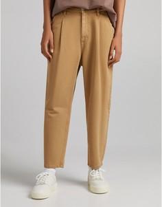 Коричневые выбеленные джинсы широкого кроя от комплекта Bershka-Коричневый цвет
