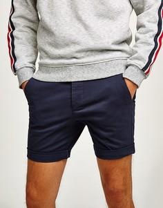 Темно-синие облегающие шорты чиносы Topman-Голубой