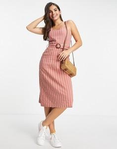 Розовое летнее платье на бретельках в полоску Brave Soul Dahlia-Розовый цвет