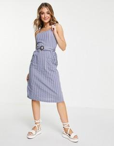 Голубое летнее платье на бретельках в полоску Brave Soul Dahlia-Голубой