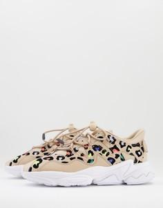 Бежевые кроссовки с разноцветным леопардовым принтом adidas Originals Ozweego Plus-Светло-бежевый цвет