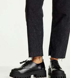 Черные туфли для широкой стопы на массивной плоской подошве с ребристым кантом ASOS DESIGN Wide Fit Mayan-Черный цвет