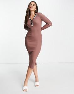 Коричневое трикотажное платье с высоким воротом и полосками Morgan-Коричневый цвет