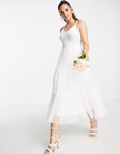 Свадебное платье миди цвета слоновой кости на бретелях Frock and Frill Bridal-Белый