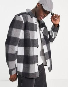 Черная рубашка в клетку Topman Buffalo-Черный цвет