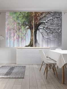 """Шторы с фотопечатью JoyArty """"Дерево с четырьмя сезонами"""" из сатена, 290х180 см"""