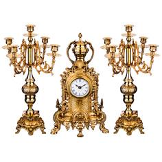 """Набор """"Каминный"""" 3пр.: часы настольные 22*9*39см + 2 подсвечника Lefard 733-100"""