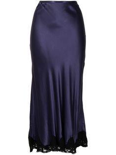 Rixo атласная юбка миди с кружевом