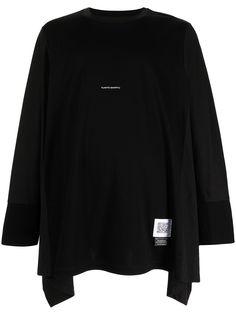 Fumito Ganryu драпированная футболка с длинными рукавами и логотипом