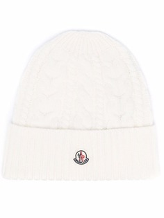 Moncler шапка бини с нашивкой-логотипом
