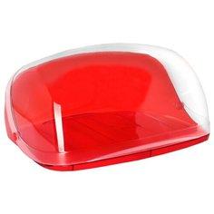 Хлебница кристалл большая, красный прозрачный Idea (М Пластика)