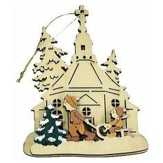 Ёлочное украшение праздник на пороге - мальчик И санки, 3D, 9х10 см, разные модели, Sigro