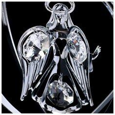 "Сувенир с кристаллами Swarovski ""Ангел-хранитель"" хром 10,2х7,8 см Crystocraft"