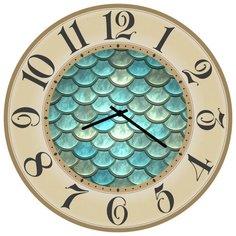 SvS Настенные часы SvS 3502235 Бирюзовая чешуя СВС