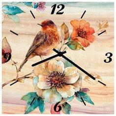 SvS Настенные часы SvS 3502841 Птичка на цветке СВС