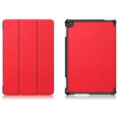 Чехол-обложка MyPads для Huawei MediaPad M5 Lite 10 (BAH2-L09/W09/AL10) тонкий умный кожаный на пластиковой основе с трансформацией в подставку красный