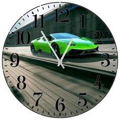 SvS Настенные часы SvS 3001949 Зеленое спортивное авто на трассе СВС