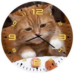 SvS Настенные часы SvS 3002038 Кот с сарделькой СВС