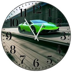 SvS Настенные часы SvS 4001949 Зеленое спортивное авто на трассе СВС