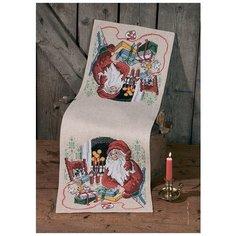 Набор для вышивания дорожки Санта Клаус и кот PERMIN 75-0622