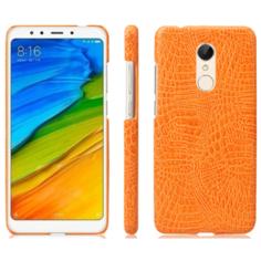 Чехол-накладка Mypads на Xiaomi Redmi 5 (5.7) элегантный тонкий на пластиковой основе с дизайном под кожу крокодила оранжевый