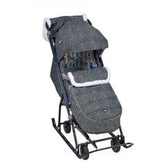 Санки-коляска Nika Наши детки НДТ6 серый с ламами