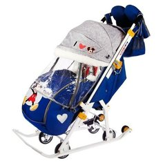 Nika Kids Санки коляска «Disney-baby 2. Микки Маус», цвет тёмно-синий