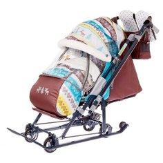 Nika Kids Санки коляска «Ника Детям НД 7-7», принт скандинавский, цвет бирюзовый, механизм качания