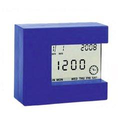 Цифровой комнатный термометр с часами Стеклоприбор Т-08, голубой (402344)