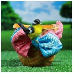 """Хорошие сувениры Фигурное кашпо """"Птичка на шляпе с бантиком"""" 21х17 см"""