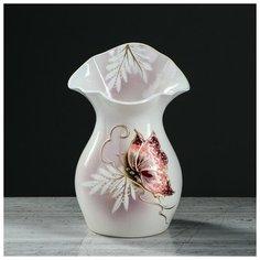 """Керамика ручной работы Ваза """"Бутон"""" 22 см, бело-розовая, бабочка, керамика"""