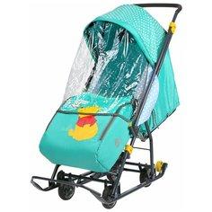 Санки-коляска Nika Disney baby 1 Винни изумрудный