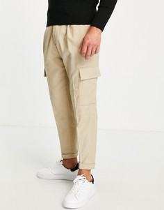 Светло-бежевые суженные книзу брюки карго из твила Topman-Светло-бежевый цвет