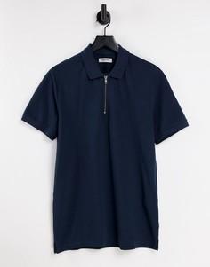 Темно-синяя футболка поло с короткой молнией Jack & Jones Originals Premium-Темно-синий