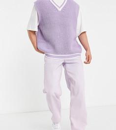 Розовые выбеленные широкие джинсы в стиле 90-х COLLUSION x014-Розовый цвет