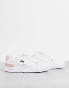 Белые и светло-розовые кожаные кроссовки Lacoste T-Clip-Белый