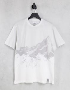 Серая oversized-футболка с большим принтом гор Topman-Серый