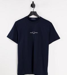 Темно-синяя футболка с вышитым логотипом Fred Perry – эксклюзивно для ASOS-Темно-синий