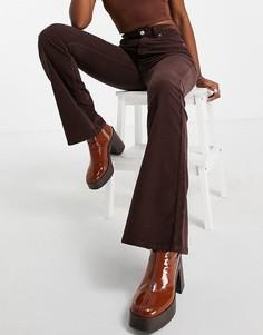 Шоколадно-коричневые расклешенные вельветовые джинсы из смесового органического хлопка-Коричневый цвет Topshop
