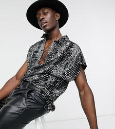 Классическая рубашка с короткими рукавами и выжженным звериным принтом ASOS DESIGN-Черный