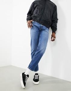 Синие выбеленные джинсы классического кроя из плотной ткани ASOS DESIGN-Голубой