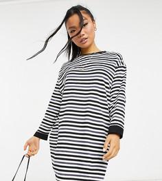 Платье-рубашка в стиле oversized с длинными рукавами в угольно-черную, черную и белую полоску ASOS DESIGN Petite-Разноцветный