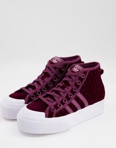 Малиновые бархатные кроссовки на платформе средней высоты adidas Originals Nizza-Розовый цвет